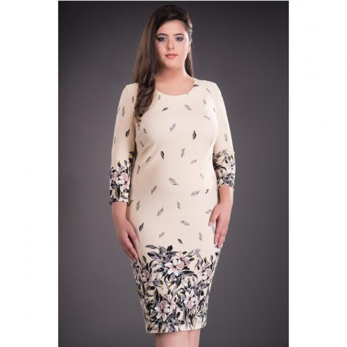 Rochie de zi cu imprimeu floral marimi mari Margareta, crem 1