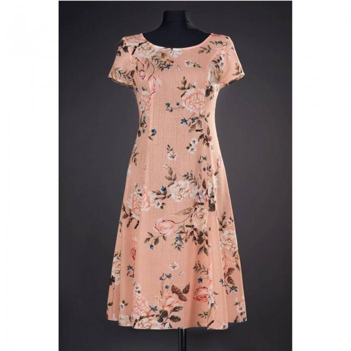 Rochie de zi cu imprimeu floral Silvia, piersica