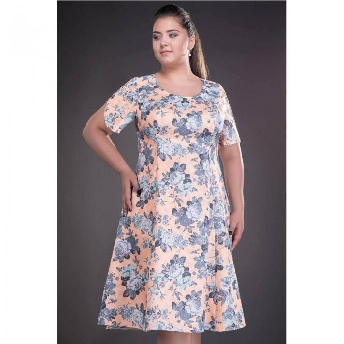 Rochie de zi cu imprimeu floral Silvia, somon 1