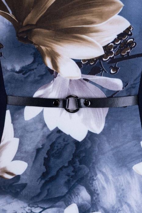 Rochii de zi elegante-Rochie casual cu imprimeu floral Vera bleumarin