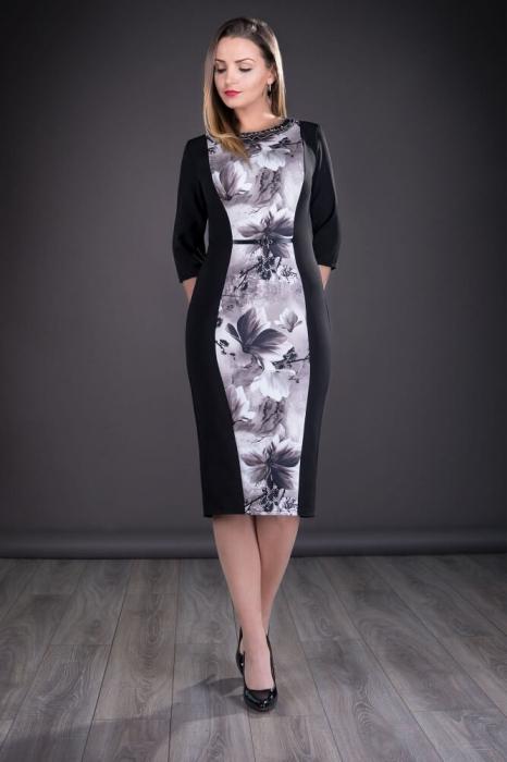 Rochii de zi casual - Rochie de zi cu imprimeu floral Vera negru