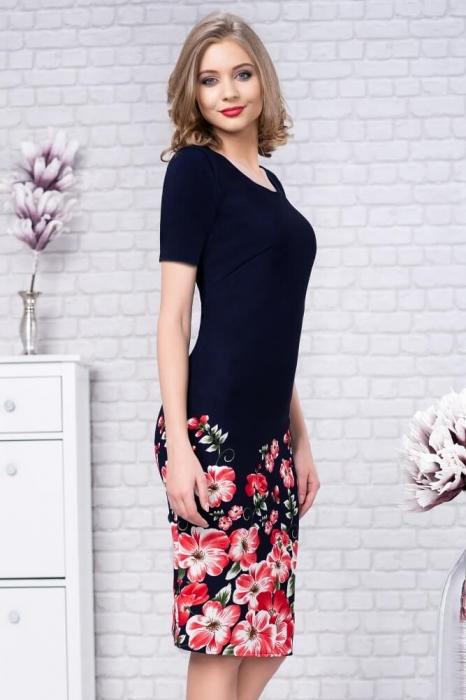 Rochii de zi elegante-rochie de zi imprimeu floral Zamfira bleumarin 1