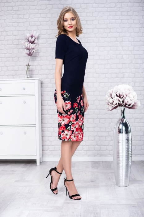 Rochii de zi elegante-rochie de zi imprimeu floral Zamfira bleumarin 0