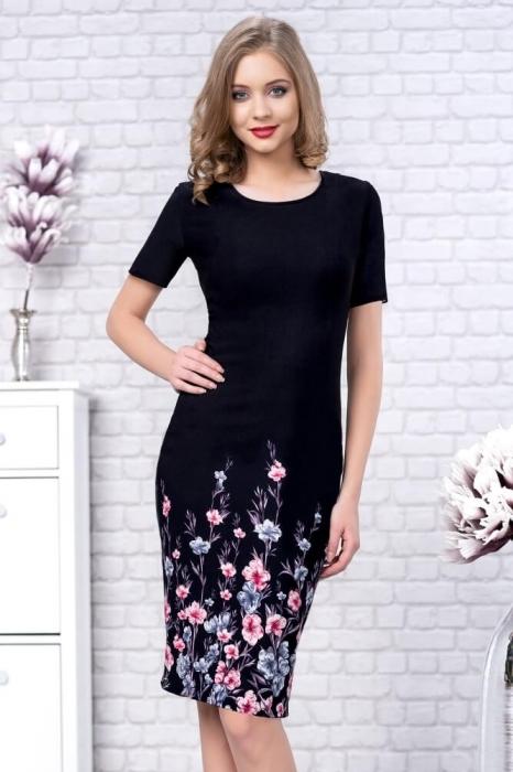 rochii de zi elegante-rochie de zi cu imprimeu floral Zamfira negru 1