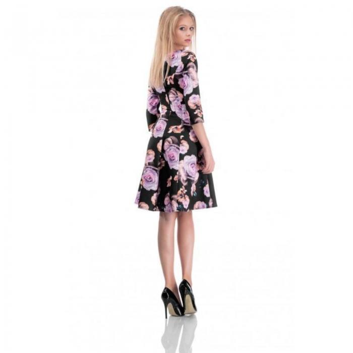 Rochie de zi in clini imprimeu floral Cali, negru cu trandafiri - marimi mici