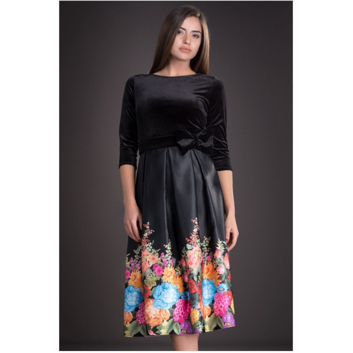 Rochii ieftine din catifea - Rochie eleganta cu imprimeu floral Imani negru 1