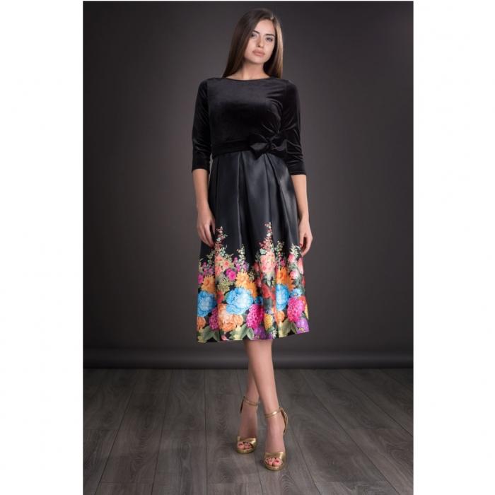 Rochii ieftine din catifea - Rochie eleganta cu imprimeu floral Imani negru 0