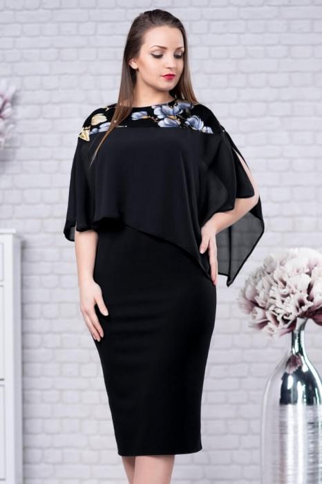 Rochii de ocazie marimi mari - Rochie eleganta cu blazer Lora negru 1