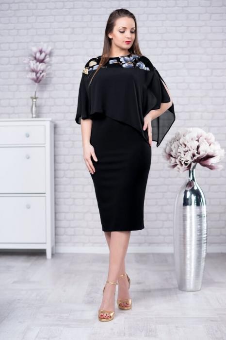 Rochii de ocazie marimi mari - Rochie eleganta cu blazer Lora negru 0