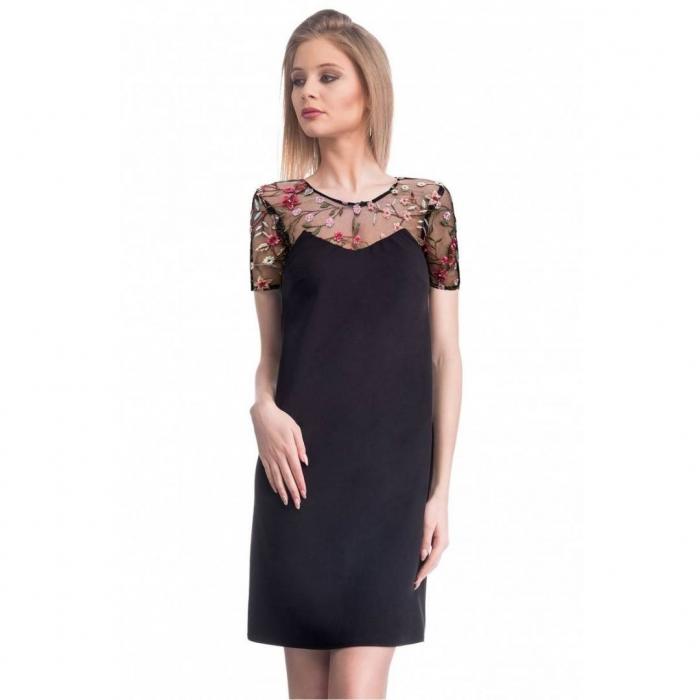 Rochie eleganta cu broderie florala Nia, negru/flori 1