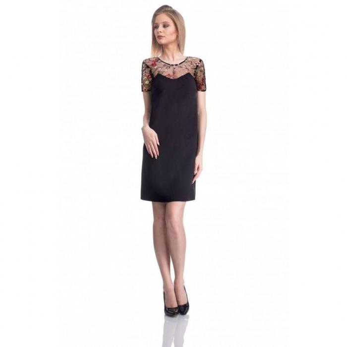 Rochie eleganta cu broderie florala Nia, negru/flori
