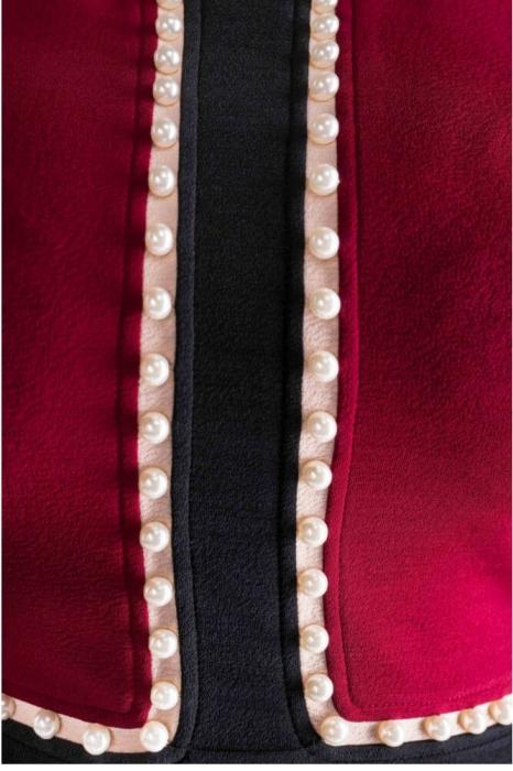 Rochii de zi-Rochie eleganta de zi XXL cu perle Amira bordeaux