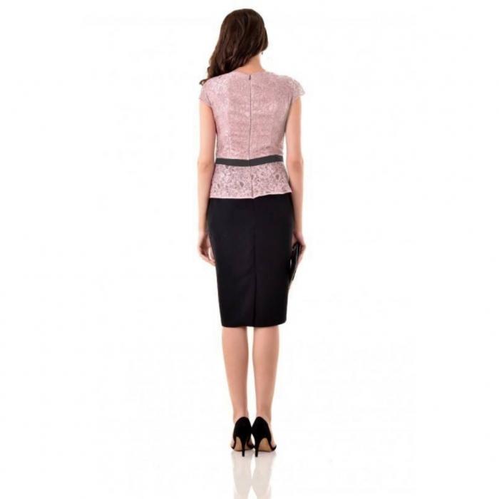 Rochie eleganta de ocazie din dantela Margareta cappucino 1