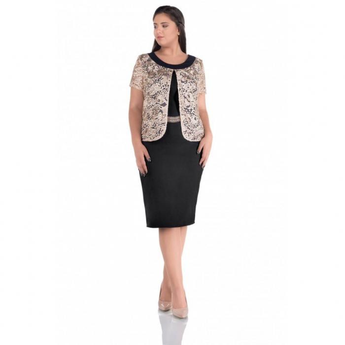 Rochie eleganta de ocazie cu blazer Gisela negru bej