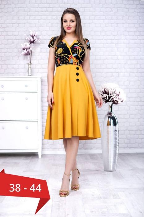 Rochii clos de zi - Rochie eleganta de zi Amanda galben/negru 0