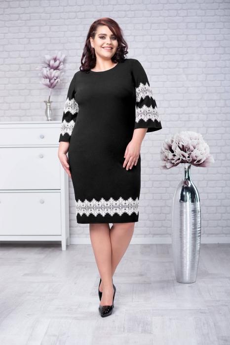 Rochii casual ieftine-Rochie eleganta de zi cu dantela Ava negru
