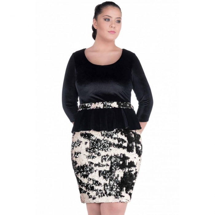 Rochie eleganta din catifea si paiete Navidad, negru