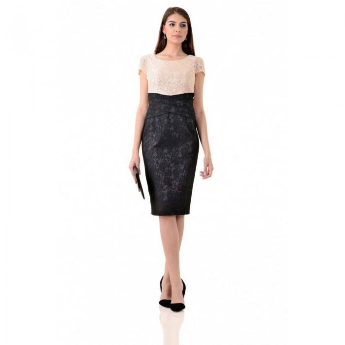 Rochie eleganta din dantela si jacquard Anamaria, negru/bej