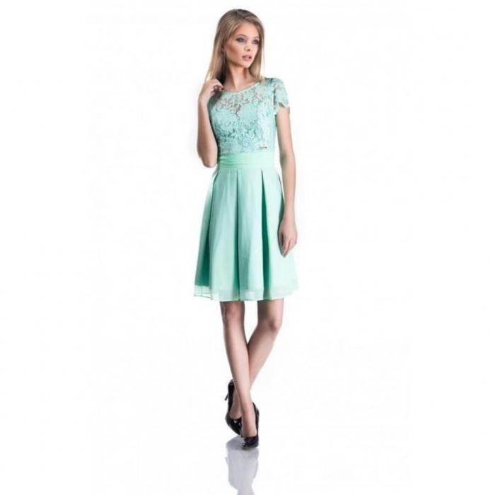 Rochii dantela ieftine-Rochie eleganta din dantela Bella verde menta