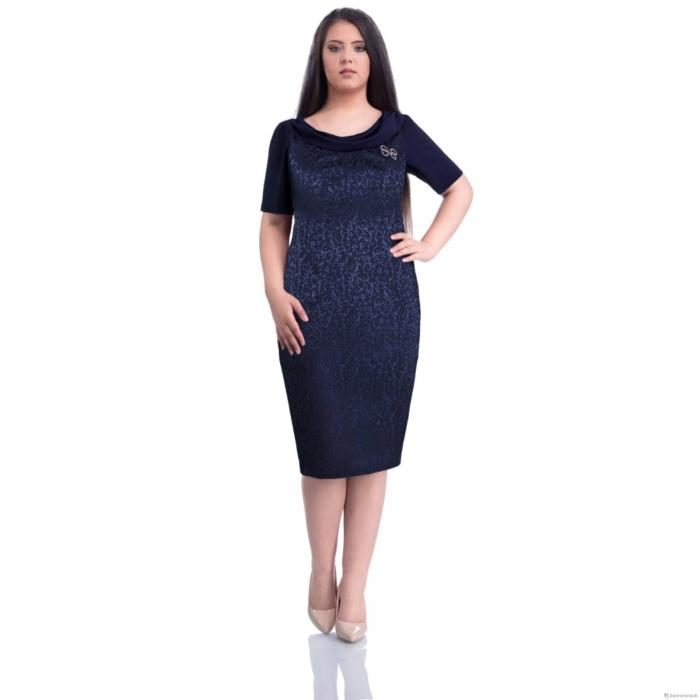 Rochie eleganta de ocazie XXL ieftina Dorina, bleumarin 0
