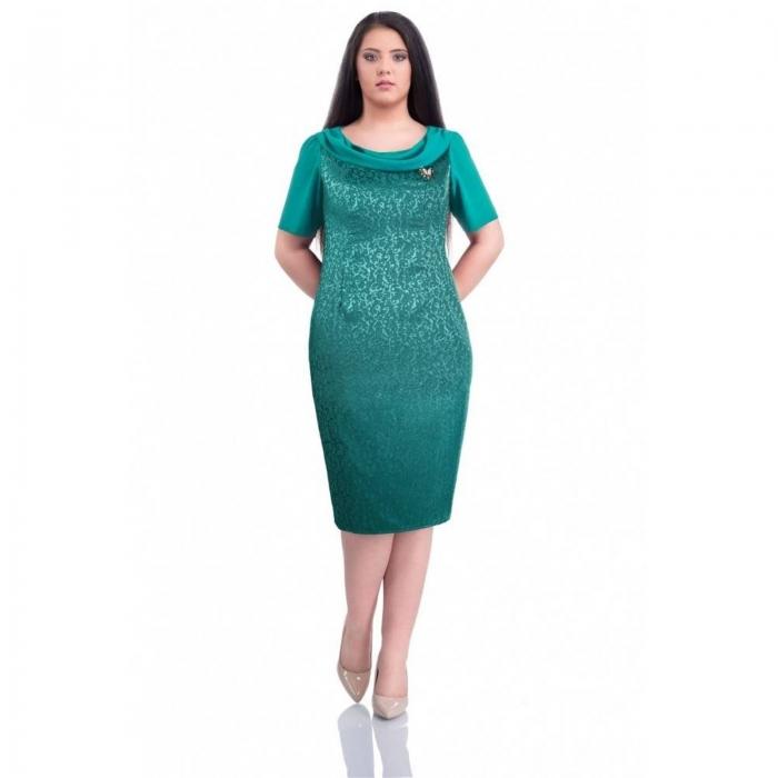 Rochii ieftine de ocazie-Rochie eleganta jaquard Dorina turcuaz