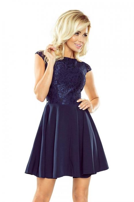 Rochie eleganta scurta de seara Marta bleumarin 1