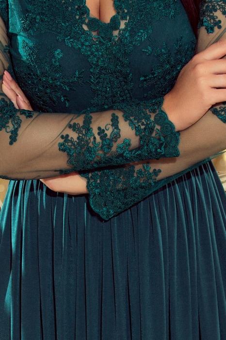 Rochii lungi de seara elegante - Rochie lunga de seara Arati, verde turquoise 3