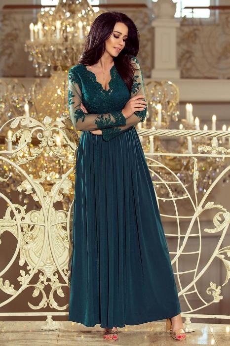 Rochii lungi de seara elegante - Rochie lunga de seara Arati, verde turquoise 0