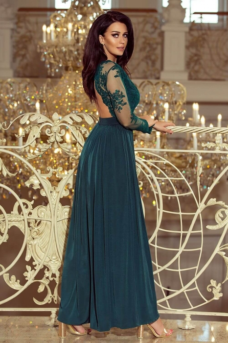 Rochii lungi de seara elegante - Rochie lunga de seara Arati, verde turquoise 2