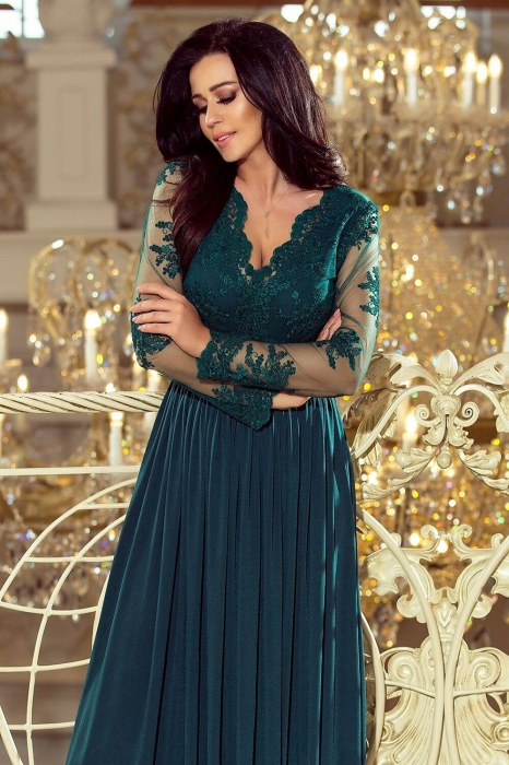 Rochii lungi de seara elegante - Rochie lunga de seara Arati, verde turquoise 1