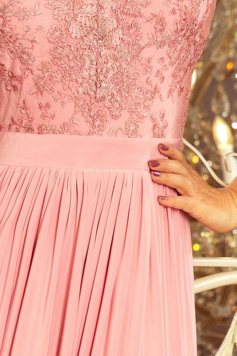 Rochii maxi de seara - Rochie lunga de seara Lea roz pastel Numoco 2