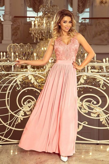 Rochii maxi de seara - Rochie lunga de seara Lea roz pastel Numoco 0