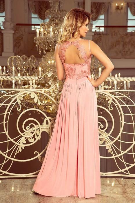 Rochii maxi de seara - Rochie lunga de seara Lea roz pastel Numoco 1