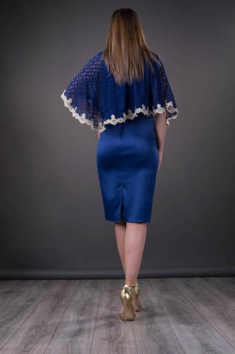 Rochii cu pelerina XXL - Rochie de ocazie cu pelerina Elvira, albastru 1