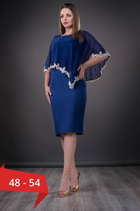 Rochii cu pelerina XXL - Rochie de ocazie cu pelerina Elvira, albastru 0
