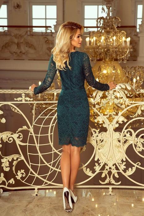 Rochii elegante din dantela - Rochie de ocazie din dantela Marina verde 2