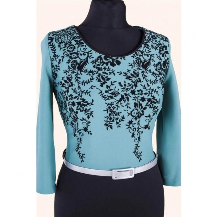 Rochie midi de zi Clarisa, negru/turquoise