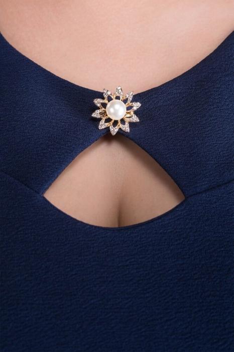 Rochii ieftine xxl - Rochie midi de zi cu accesorii Daria bleumarin 3