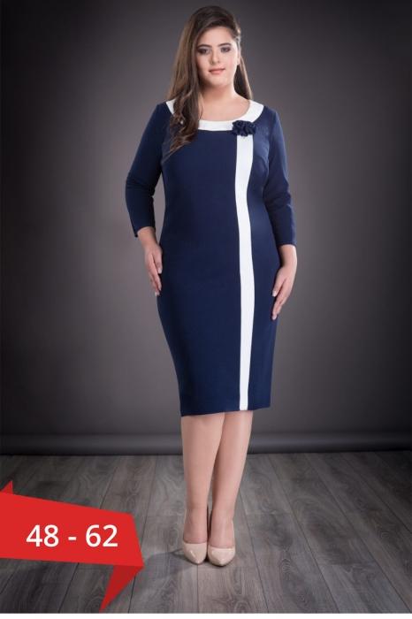 Rochii elegante XXL - Rochie de zi marimi mari Natasa, bleumarin 0