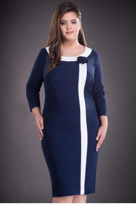 Rochii elegante XXL - Rochie de zi marimi mari Natasa, bleumarin 1