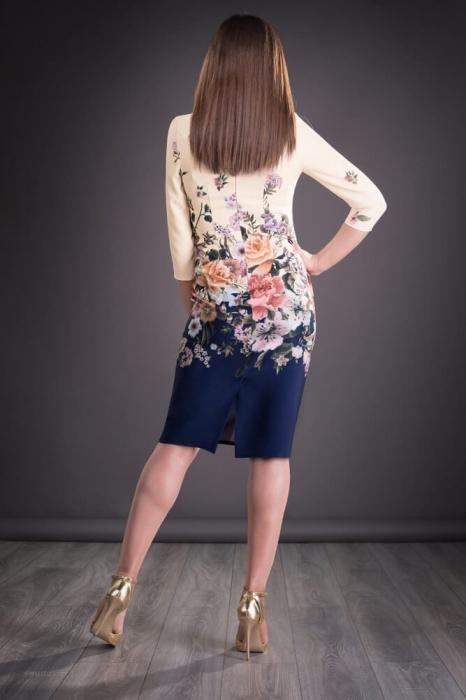 Rochii midi elegante - Rochie de zi cu imprimeu floral Golda bleumarin