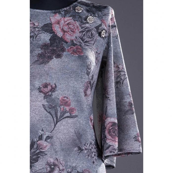 Rochii XXL ieftine-Rochie midi de zi cu imprimeu floral Melania gri