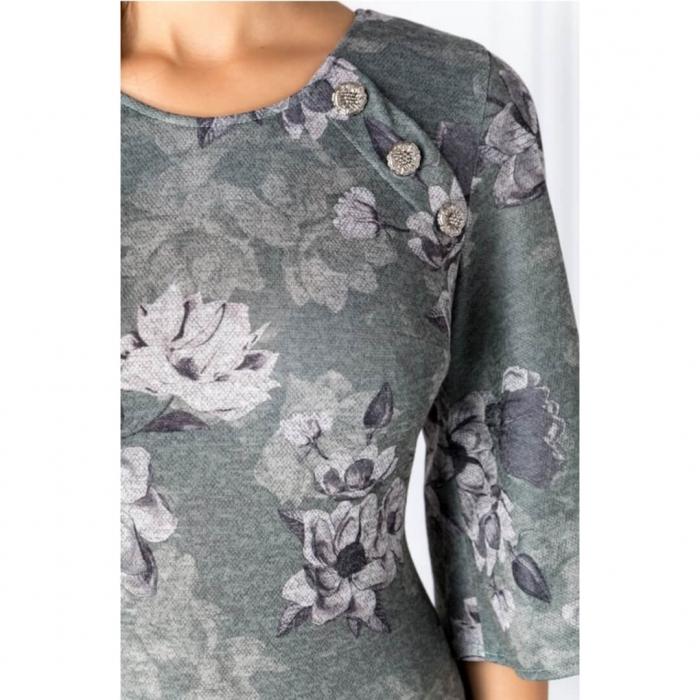 Rochii XXL ieftine-Rochie midi de zi cu imprimeu floral Melania verde