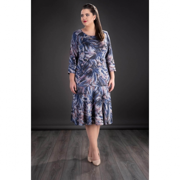 Rochii femei plinute - Rochie XXL din tricot imprimat Gina 0
