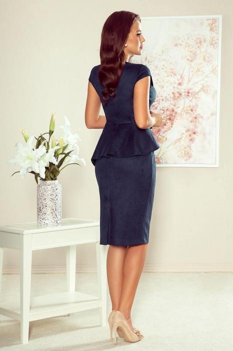 Rochie midi eleganta cu peplum Numoco, bleumarin 1