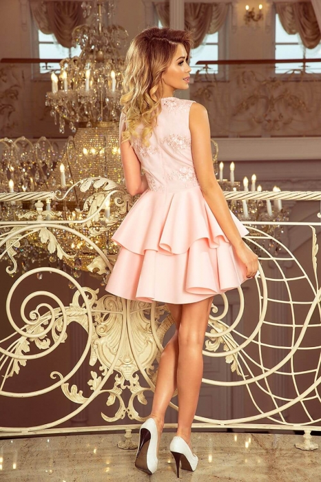 Rochii elegante scurte - Rochie scurta eleganta de seara Alexis roz pastel 2