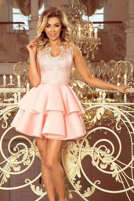 Rochii elegante scurte - Rochie scurta eleganta de seara Alexis roz pastel 1