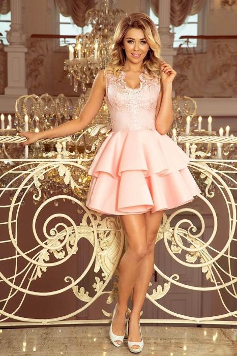 Rochii elegante scurte - Rochie scurta eleganta de seara Alexis roz pastel 0