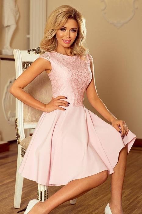 rochii scurte elegante de seara - Rochie scurta de seara Marta roz piersica 0