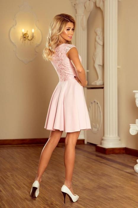 rochii scurte elegante de seara - Rochie scurta de seara Marta roz piersica 1